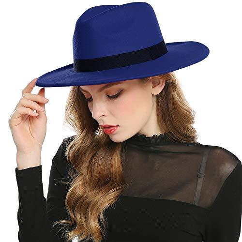 Haimeikang Chapeau Fedora Rétro Feutre de Laine Chapeau Femme Filles Hiver Derby Church Panama Style (Bleu Royal)