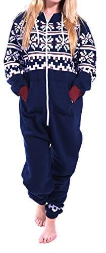 Juicy Trendz Femmes Dames Imprimé Sweat à Capuche Un Zip Capuche Onesie Survêtement, Navy-az, XL