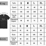 King Queen Couple Shirt T-Shirt 100% Coton Tees Shirts pour Roi Reine Imprimé 01 Manches Courtes Anniversaire Cadeau 2 Pièces Été(BK-King-XXL+wh-Queen-XXL)