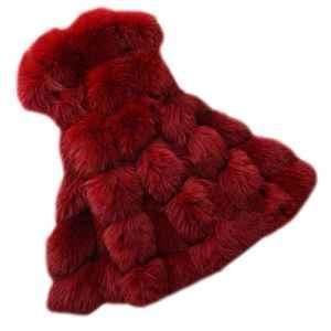 Long Gilet Vest Manteau Coat sans Manches en Fausse Fourrure pour Femme Vin Rouge M