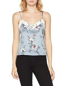 New Look Nicola Floral Satin, Haut De Pyjama Femme, Gris (Grey Pattern 8), 38 (Taille Fabricant: 10)
