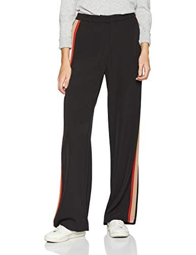 New Look Side Stripe Wide Leg, Pantalon Femme, Noir (Black Pattern), 42 (Taille Fabricant: 14)