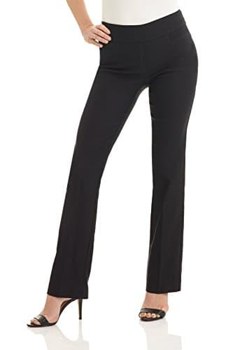 Rekucci Femme Pantalon Extensible Coupe Évasée Moderne Facile à Enfiler (4SHORT,Noir)
