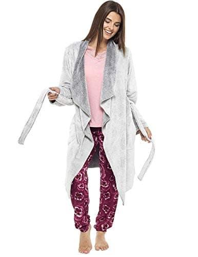 Robe de chambre de luxe Doux Peignoir en peluche Housecoat Waterfall Lounge Style peignoir (S, cascade gris argenté)