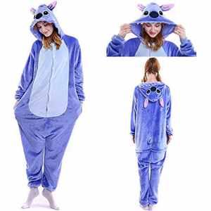 SunRlity Costumes Unisexe Kigurumi Lilo & Stitch Onesie Le Pyjama Film Adulte Ados Cadeau De Noël (Blue, XL)