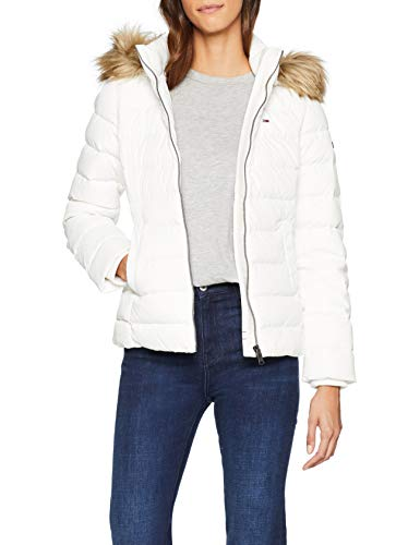 Tommy Jeans Femme Essential Hooded Down Blouson Manches Longues Blanc (Snow White 116) Medium