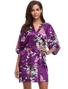 Aibrou Kimono Robe de Chambre Chemise de Nuit Femme Fleurs Paon sous vêtements (XX-Large, Violet Foncé)