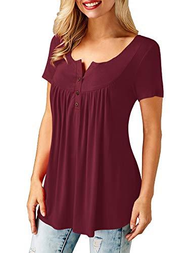 AMORETU Femme Chemise Col V Femme Haut Sexy Chemisier T Shirt Manche Courte Automne Hiver Casual Uni Tunique Top Rouge XXL