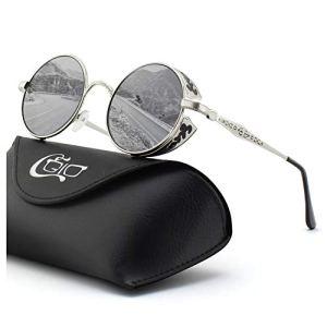 CGID E71 Lunettes de soleil polarisées inspirées du style retro Steampunk en cercle métallique rond UV400 Pour Hommes et Femmes