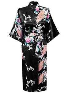 Cityoung-Kimono Japonais en Satin Sexy Robe de Chambre Peignoir-Femme (Noir,M)