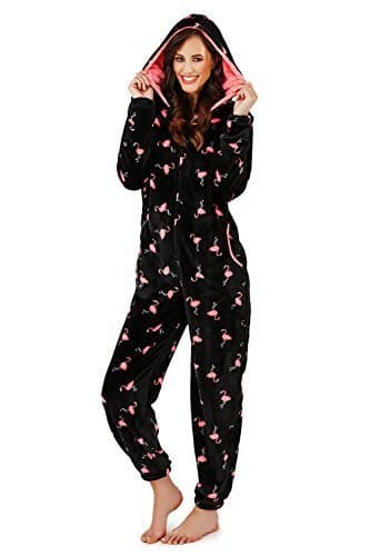 Combinaison Femme Loungeable Pyjama pour Femmes 3D Oreilles Pyjama Tout en Un – Flamant Rose Imprimé, Taille M – EU 40-42