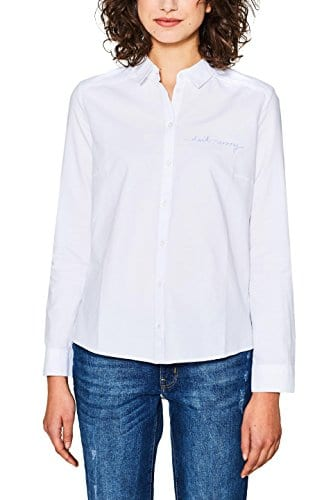 edc by Esprit 018cc1f013, Blouse Femme, Blanc (White 100), Large