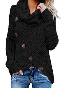 G-Anica Sweatshirt Femme, Chemise Femme Sweats Asymétrie Pull Tricoté en Coton à Manches Grande Taille Longues Cardigan Tops Blouse Shirt Chandail Chemisier (Noir, L)