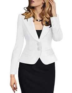 Lrud Femmes Double Bouton Tailleur Ajusté Blazer Veste Costume Slim Fit Casual Business Soirée Revers Long Manches Manteau