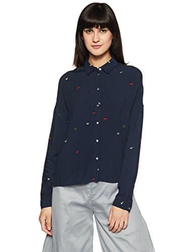 Only Onlzafran L/s Shirt Dare WVN, Blouse Femme, Bleu (Total Eclipse), 38