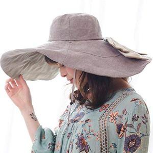 RIONA Femme Capeline Pliable Réversible Chapeau de Soleil Réglable Large Bord Eté Plage Voyage UPF UV