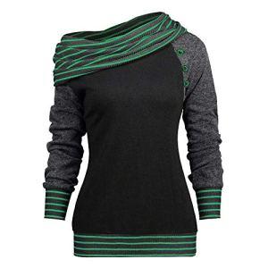 Tefamore Mode féminine obliquité Manches Longues rayé Bouton Patchwork Sweat Top