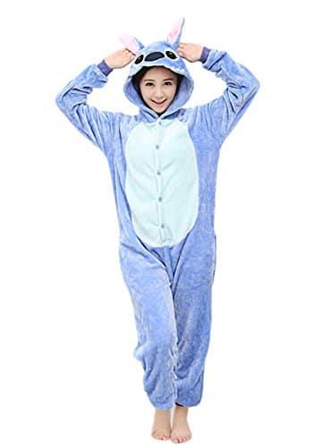 Unisexe Hot Adulte Pyjamas Cosplay Costume d'animal Onesie de nuit de nuit – Blue Stitch – XL
