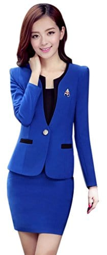 Yinxiang Liying Femme Fin Salopette Business Suit Jupe Définit – Bleu –