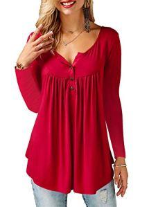 AMORETU Femme Automne Mode Casual Élégant Bouton T Shirt Chemise Manche Longue Col V Lâche Plier Blouse Tunique Tops Bourgogne S