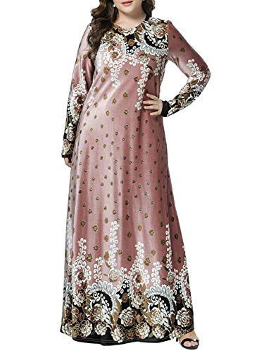 BESBOMIG Caftan Dubai Abaya Les Musulmans des Robes Marocain Dress Floral Maxi Robe Fête Robes – Dames Manche Longue en Vrac Décontractée Gown