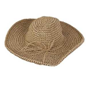 Femmes Grande Paille Large Bord Chapeau de Soleil Pliable De Plage De Vacances pour Eté – Café Léger