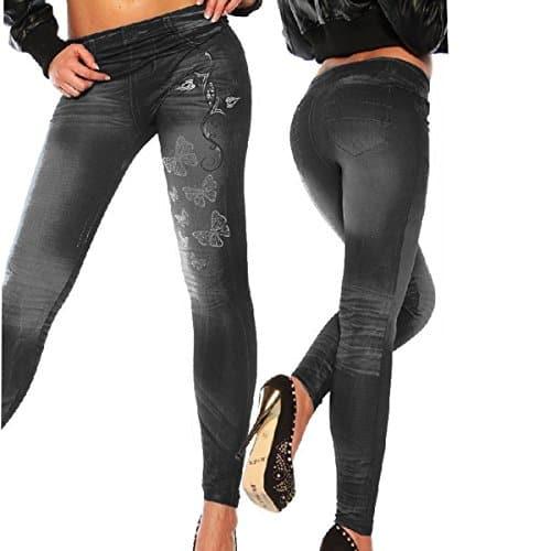Femmes Leggings Jeans Pantalon Yoga de Sport Stretch Taille Haute Jeggings Noir