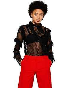 FIND Blouse en Dentelle et Tulle à Pois Femme, Noir (Black), 38 (Taille Fabricant: Small)