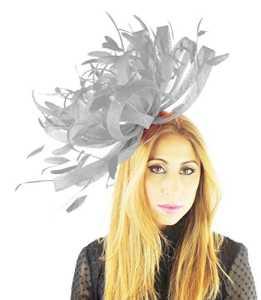 Grand chapeau en sinamay et plumes Ascot Bibi 155avec arceau – gris –