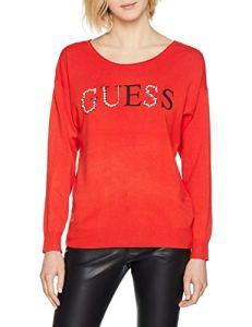 Guess Ls RN Guia SWTR, Sweat-Shirt de Sport Femme, Rouge (Rhubarb G501), Medium