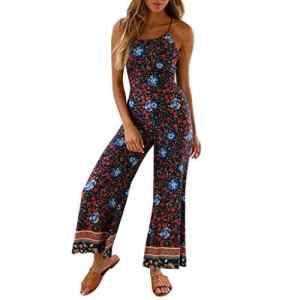 Kaister Combinaison Longue Dos Nu Bretelles Playsuit Femmes Imprimé Floral Pantalon À Jambes Larges