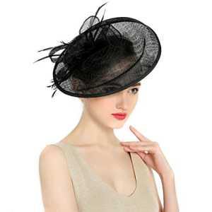 KAXIDY Femme Chapeau de Cérémonie Chapeau Voilette Mariage Cheveux pour Mariées Fête (Noir)