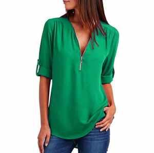 Kingwo Top Décontracté des Femmes de Mode T-Shirt Ample Femme Haut à Glissière (S, Vert)