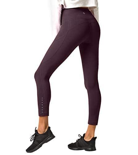 LAPASA Legging Femme Pantalon de Sport avec Poches Yoga Fitness Gym Pilates Taille Haute Gaine Large L01, 25. Bordeaux (Poches Sur les Côtés), XXL