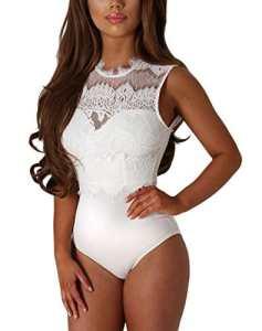 Max mall Femmes Dentelle Bodys Tops Combinaison Dos Nu Bodysuit Jumpsuit (XL, Blanc)