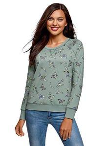 oodji Ultra Femme Sweat-Shirt Basique Imprimé, Vert, FR 42 / L