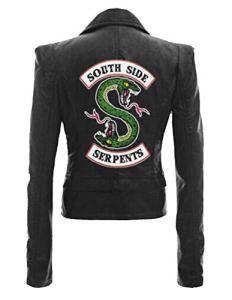 Riverdale Veste en Cuir Serpent Femme Cuir Vernis Pull Chic Pas Cher Ado Fille Gilet Court Blouson Manteaux Sweat-Shirt (B-Noir 1, 3XL)
