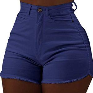 Shujin Mini Hot Shorts Jeans Push Up Denim Pantalon Court Bermuda Sexy Short Slim Fit avec Poche Couleur Uni Clubwear Mode