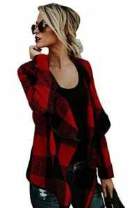 Veste Ecossaise Femme Vintage Style Tartan Cardigan Asymetrique Blazer col Chale Gilet Fluide Manteau a Carreaux Blouson Fin Tunique Pull Ouvert Haut Top Irrégulière Manches Longues Trench Outwear