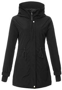 4How Imperméable à Capuche Femme Manteau Coupe-Vent Raincoat Waterproof Femme Noir 46