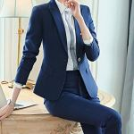 Blazer Femmes en Tailleur 2 Pièces Formel Veste Et Pantalon Ensemble pour Ceremonie Bleu 2 M