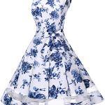 Bridesmay Robe Vintage rétro Audrey Hepburn années 50 Rockabilly sans Manches White Blue Flower M