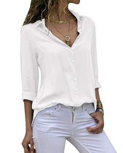 Cassiecy Chemisier Femme Mode Manche Longue Casual Col V Tunique Top Haut Blouse (L, Blanc)