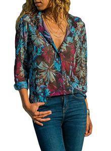 Dokotoo Chemisier Femme Chemise Tunique Blouse Manches Longues Top avec Boutons Mode Haut Col V Casual Lâche T-Shirt en Mousseline Chic Printemps S-XXL