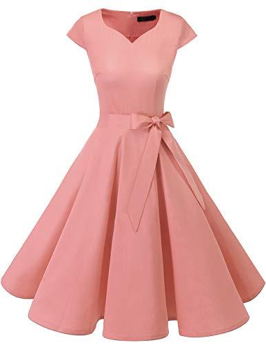 Dresstells Version 6.0 Vintage 1950's Robe de soirée Cocktail rétro Style années 50 Manches Courtes Blush 3XL