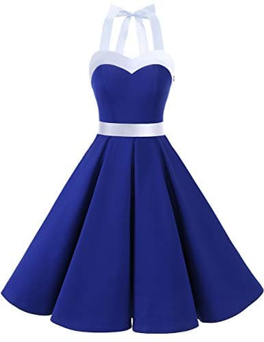 Dresstells Version3.0 Vintage 1950's Audrey Hepburn pin-up Robe de soirée Cocktail, Style Halter années 50 à Pois RoyalBlue White XL