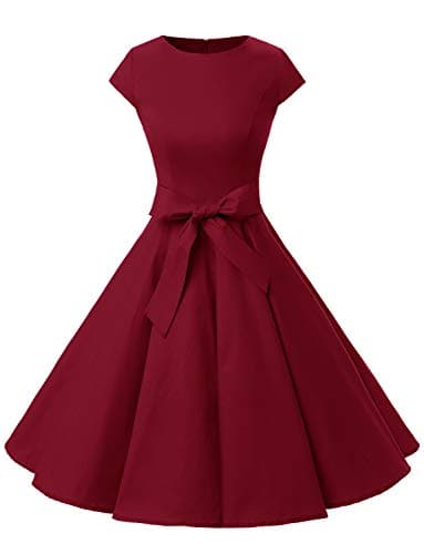 Dressystar Robe à 'Audrey Hepburn' Classique Vintage 50's 60's Style à Mancheron 1956Dark Red XXXL