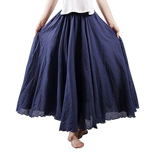 Femme Jupe Boheme Tour de Taille Elastique Casual en Coton Lin Dress Bleu Marin 105CM Longueur