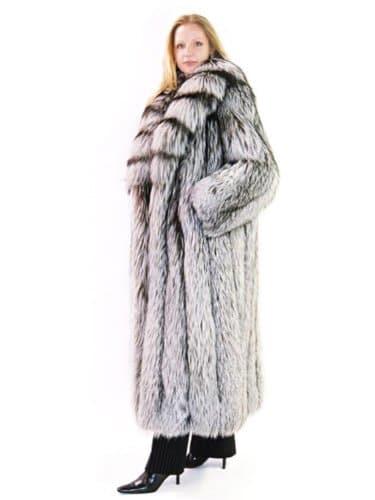 FursNewYork pleine longueur manteau de renard blanc avec col châle tronçonner