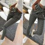 ITISME Jeanshosen Pantalon Femmes Automne Rayure Taille Haute Sarouel Bowtie Taille élastique Pantalons Hiver DéContractés